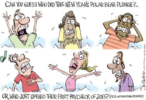 Joe Heller - Green Bay Press-Gazette - FICA tax - English - FICA tax, social security, 2013 tax increase, paycheck, polar bear, plunge, new years, payroll, fiscal cliff
