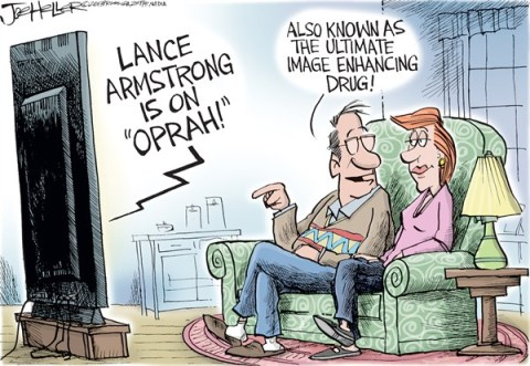 Joe Heller - Green Bay Press-Gazette - Lance and Oprah - English - Lance Armstrong, Oprah, doping, drugs, enhancement, image, tour de france