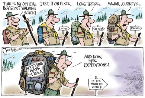 Joe Heller - Green Bay Press-Gazette - Boy Scouts - English - boy scouts, bsa, gay, accepting, hiking, walking stick, modern world, rights, tolerance