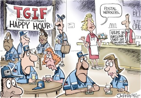 Joe Heller - Green Bay Press-Gazette - Post Office - English - post office, USPS, letter carriers, tgif, postal, bar, saturday deliveries