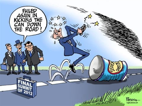 Paresh Nath - The Khaleej Times, UAE - Kicking euro crisis can COLOR - English - Eurozone summit, last of 2012, kicking the can, summit failure,Barrosso, Van de Rompuy, ECE, banking union, euro debt crisis