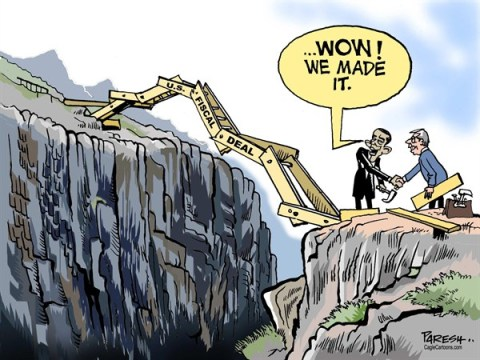 Paresh Nath - The Khaleej Times, UAE - U.S. Fiscal deal COLOR - English - 		USA economy,fiscal deal,fiscal cliff,bridge,,jerry-built bridge,Obama,Boehner