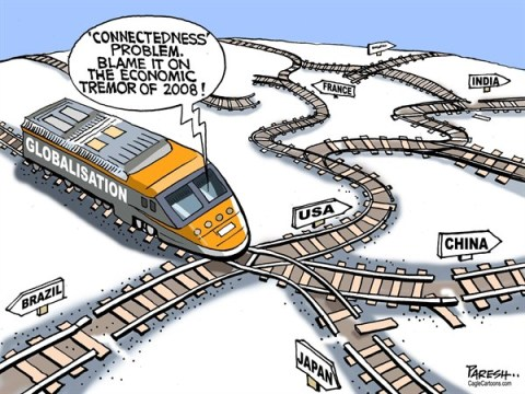 Paresh Nath - The Khaleej Times, UAE - Globalisation link COLOR - English - Globalisation, link break, railway track, connectdness, Japan, USA, China, India, Brazil, France, Germany, backtracking