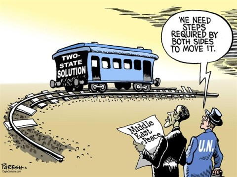Paresh Nath - The Khaleej Times, UAE - Two-state solution COLOR - English - Two-state solution, Middle East peace, Israel, Palestine,Obama, United Nations, rail track