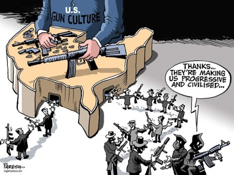 Paresh Nath - The Khaleej Times, UAE - Gun culture and militants - English - US gun culture, gun supply, NRA, terrorists, advanced weapons, progressive militants, arms, Taliban, Al Qaeda