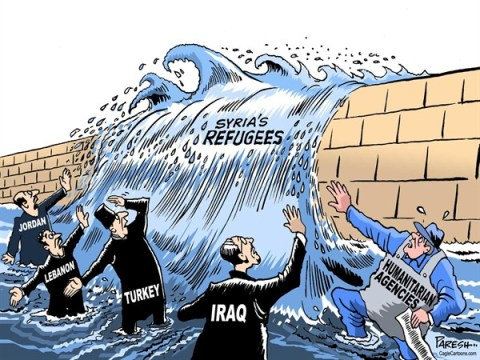 Paresh Nath - The Khaleej Times, UAE - Syrian refugees COLOR - English - Syria, refugees, Iraq, Lebanon, Turkey, Jordan, Humanitarian agencies, UNHCR, relief operations, refugee flood, asylum