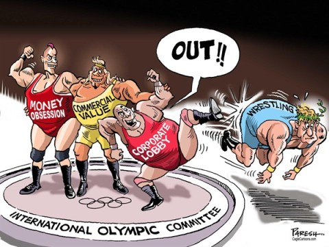 Paresh Nath - The Khaleej Times, UAE - Wrestling and Olympics COLOR - English - wrestling, Olympics,corporate lobby, money obsession, commercial value, oust wrestling, ancient games, sports