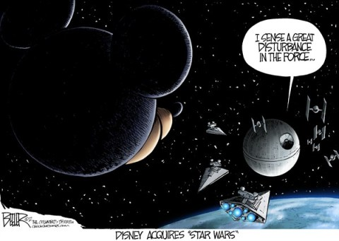 Nate Beeler - The Columbus Dispatch - The Disney Side of the Force COLOR - English - disney, star wars, lucasfilm, acquire, george lucas, media, entertainment, film, mickey mouse, movies, trilogy, death star, star destroyer, tie fighter, force