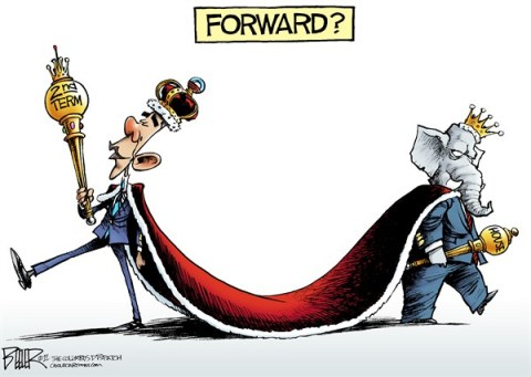 Nate Beeler - The Columbus Dispatch - The Mandate COLOR - English - barack obama, second, 2nd, term, election, campaign, 2012, president, king, cape, sceptor, republicans, gop, house, majority, politics, government, forward