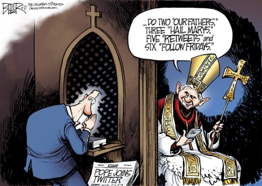 Nate Beeler - The Columbus Dispatch - The Pope Joins Twitter COLOR - English - pope, twitter, vatican, internet, social media, rome, catholic, church, catholicism, retweet, prayer, confession, benedict, christian, tweet