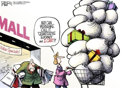 Nate Beeler - The Columbus Dispatch - Fed Shopping Spree COLOR - English - ben bernanke, federal reserve, fed, quantitative, easing, economy, money, christmas, shopping, presents, gifts, holiday, spending