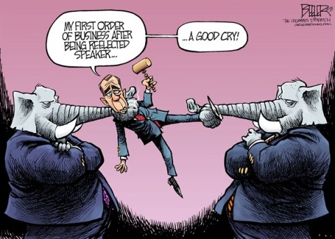 Nate Beeler - The Columbus Dispatch - John Boehner COLOR - English - john boehner, gop, republicans, house, speaker, elephant, cry, partisan, infighting, gavel, congress, politics, conservative