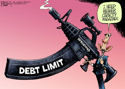 Obama the Enthusiast © Nate Beeler,The Columbus Dispatch,barack obama, debt, limit, ceiling, assault, weapon, rifle, high, capacity, magazine, gun, control, spending, government, deficit, politics
