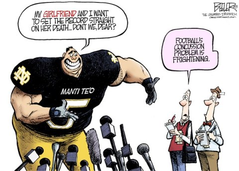 Nate Beeler - The Columbus Dispatch - Manti Teo COLOR - English - manti,teo,football,player,notre dame,college,nfl,concussion,girlfriend,twitter,dead,imaginary,fake,hoax,sports, fake girlfriend