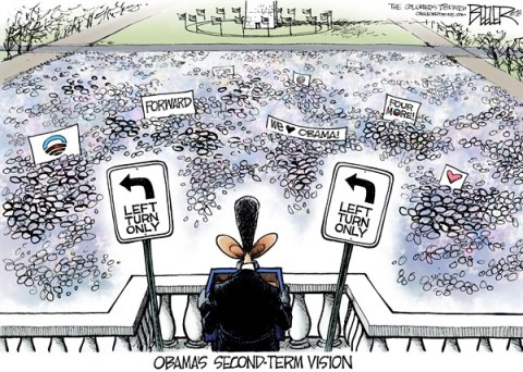 Nate Beeler - The Columbus Dispatch - The Second Term COLOR - English - barack obama,president,inauguration,left,turn,forward,second,term,vision,liberal,speech,progressive,politics