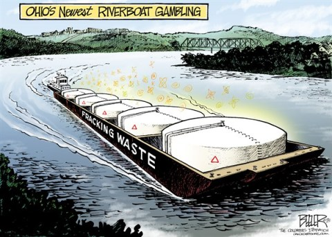 Nate Beeler - The Columbus Dispatch - LOCAL OH - Fracking Ferry COLOR - English - ohio, fracking, river, waste, brine, pennsylvania, west virginia, kentucky, flowback, energy, pollution, chemicals, drilling, injection, well, barge, riverboat, gambling, radioactive, environment