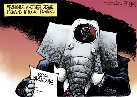 Nate Beeler - The Columbus Dispatch - Power Outage COLOR - English - gop, republican, branding, superdome, dome, power, outage, blackout, light, bulb, head, idea, politics, super bowl