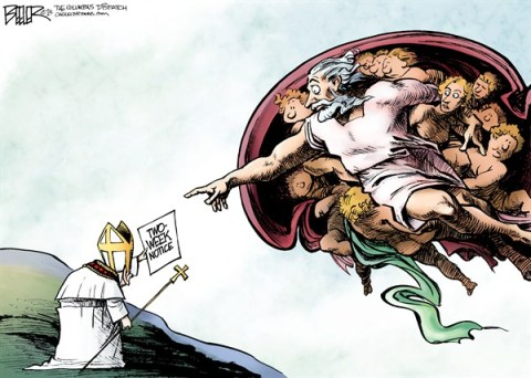 Nate Beeler - The Columbus Dispatch - The Pope Resigns COLOR - English - pope, catholic, church, vatican, god, abdicate, resign, retire, benedict XVI, religion, notice, michelangelo, sistine chapel, ratzinger