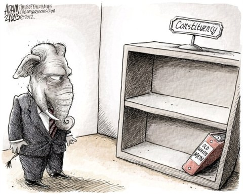 Adam Zyglis - The Buffalo News - GOP Constituency COLOR - English - gop, constituency, voters, base, old, white, men, demographics, romney, 2012, loss, minorities, women, binders, full