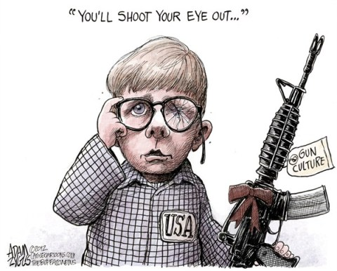 Adam Zyglis - The Buffalo News - Gun Culture COLOR - English - gun, culture, control, christmas, story, ralphy, ralfy, newtown, shooting, school, mass, murder, assault, weapons, bushmaster, semi-automatic, rifle