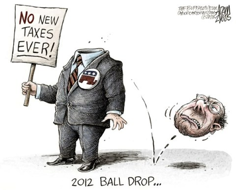 Adam Zyglis - The Buffalo News - 2012 Ball Drop COLOR - English - ball drop, gop, norquist, pledge, taxes, no, new, revenue, bush, tax cuts, compromise, fiscal cliff, deal, tea party, house, republicans