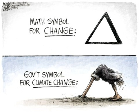 Adam Zyglis - The Buffalo News - Climate Change COLOR - English - climate change, change, delta, math, government, environment, global warming, science, congress, inaction, ostrich, sand