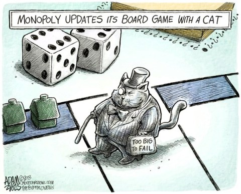 Adam Zyglis - The Buffalo News - Monopoly Cat COLOR - English - monopoly, cat, board game, piece, fat cat, too big to fail, wall street, economy, corporate, profits, class warfare, rich