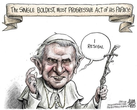 Adam Zyglis - The Buffalo News - Pope Benedict COLOR - English - pope, benedict, catholic, church, resignation, legacy, social, conservative, policy, vatican, christianity, religion, gay, marriage, women, nuns, contraception