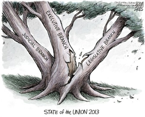 Adam Zyglis - The Buffalo News - Washington is Broken COLOR - English - state of the union, president, 2013, executive, branch, legislative, judicial, congress, washington, broken, branches of government, partisanship