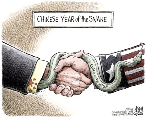 Adam Zyglis - The Buffalo News - Chinese Espionage COLOR - English - china, chinese, year of the snake, cyber, espionage, hacking, scandal, web, corporation, security, digital
