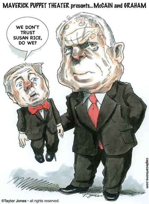 Taylor Jones - Politicalcartoons.com - John McCain and Lindsey Graham - COLOR - English - 		mccain,john mccain,graham,lindsey,lindsey graham,rice,susan rice,UN ambassador,secretary of state,maverick