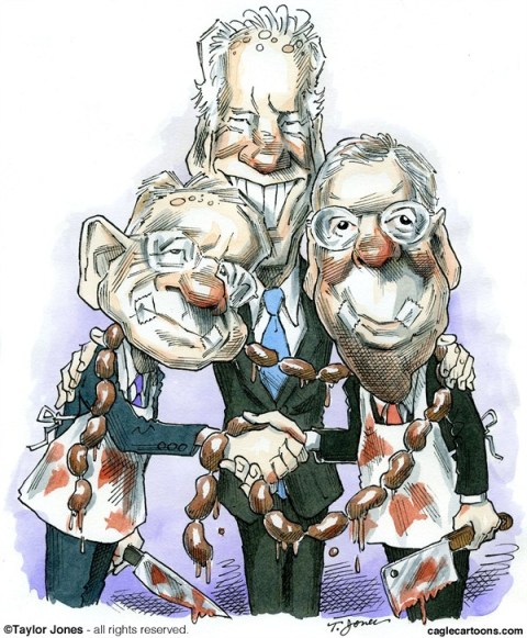 Taylor Jones - Politicalcartoons.com - Reid, McConnell and Biden - English - harry,reid,mitch,mcconnell,biden,joe biden,senate,congress,fiscal cliff,fiscal agreement,sausage