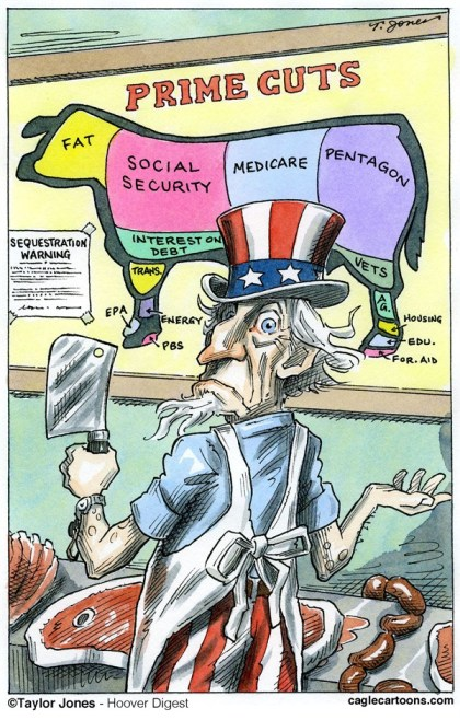 Taylor Jones - Hoover Digest - Prime budget cuts - COLOR - English - budget,deficit,federal,spending,entitlements,pentagon,social security,medicare,social programs,sequestration,fiscal cliff,congress,debt ceiling,debt,military spending