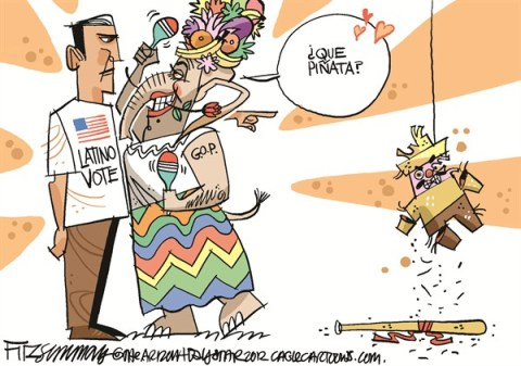 David Fitzsimmons - The Arizona Star - What pinata - English - latino vote, republicans, election 2012