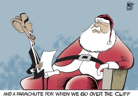 Randy Bish - Pittsburgh Tribune-Review - A PARACHUTE FOR CHRISTMAS, COLOR - English - 		FISCAL CLIFF,ECONOMY,OBAMA