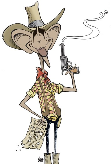 Randy Bish - Pittsburgh Tribune-Review - OBAMA AND GUNS, COLOR - English - OBAMA, GUNS, GUN CONTROL, CONSTITUTION