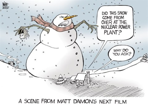 Randy Bish - Pittsburgh Tribune-Review - LOCAL, PA- NUCLEAR SNOW, COLOR - English - PENNSYLVANIA, NUCLEAR, POWER PLANT, SNOW, MATT DAMON, FRACKING, FILM, GAS, POWER
