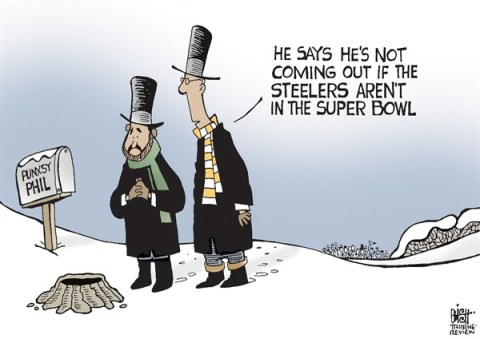 Randy Bish - Pittsburgh Tribune-Review - GROUNDHOG DAY, COLOR - English - GROUNDHOG DAY, PUNXSUTAWNEY PHIL, STEELERS, SUPER BOWL