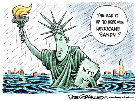 Dave Granlund - Politicalcartoons.com - Hurricane Sandy floods NYC - English - New York, New York City, NYC, East Coast, disaster, storm, Super storm, mega storm, frankenstorm