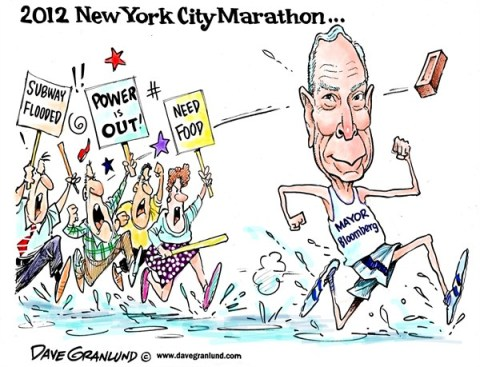 Dave Granlund - Politicalcartoons.com - Bloomberg and NYC Marathon - English - Mayor Bloomberg, Sandy, hurricane sandy, flooding, disaster, marathon, backlash, recovery, help, victims, New York City, New York, NY, storm aid, anger, unrest