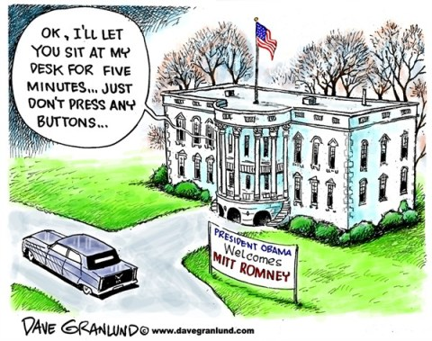 Dave Granlund - Politicalcartoons.com - Mitt invited to White House - English - Romney, oval office,Obama meeting, president, invited, invitation, meets with Obama, after election,