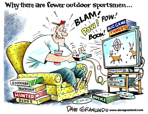 Dave Granlund - Politicalcartoons.com - Fewer hunters - English - Hunting, deer hunters, guns, rifles, buckshot, sprotsmen, shotguns, game, duck hunting, fewer sportsmen, does, wild game, hunters