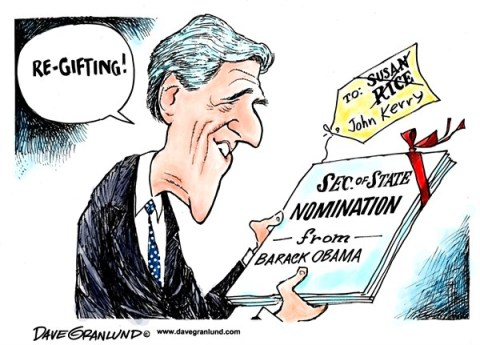 Dave Granlund - Politicalcartoons.com - Kerry Sec State nomination - English - John Kerry, Sen Kerry, Massachusetts, bay state, Obama, nomiation, susan rice, re-gifting, present