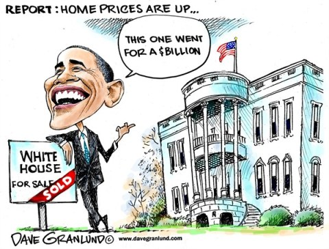 Dave Granlund - Politicalcartoons.com - US home prices up - English - Housing market, real estate, property values, investments, equity, value, home values, Obama, White House, campaign costs, billions, politics, for sale