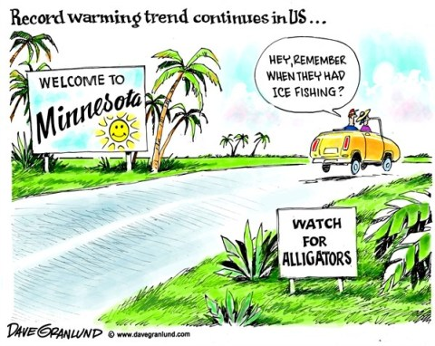 Dave Granlund - Politicalcartoons.com - US warming trend - English - USA, US, warmer, warmest, record temps, record temperature, weather, hot, records, climate change, environment, heat, record warmth, trend, Minnesota, alligators, ice fishing, tourists, palm trees