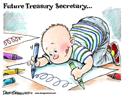 Dave Granlund - Politicalcartoons.com - Signature for US Dollar - English - Treasury Secretary, Secretary of the Treasury, Signed, sinatre, secretary signature, Jack Lew, bad signature, scribble, scrawl, handwriting, penmanship