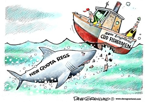 Dave Granlund - Politicalcartoons.com - New England cod quotas - English - New England, Georges bank, Cod fish, fisherman, fishing industry, cod stock, overfishing, depleted, fishermen, regulators, regs, regulations, restrictions, cape cod,