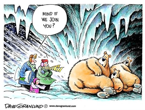 Dave Granlund - Politicalcartoons.com - Blizzard shelter - English - Blizzard, snowstorm, monster storm, nemo, mega storm, heavy snow,winter, sleet, ice, power outage, cold, freezing, families, family, bears, hibernate, hibernation, hibernating, hungry, no heat, stuck, emergency