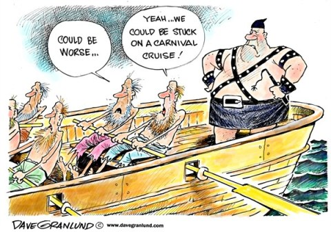 Dave Granlund - Politicalcartoons.com - Carnival Cruise fiasco - English - Carnival Cruise,ship,vacation,passengers,mess,sewage,engine,fire,drifting,no power,angry,travel,stranded,services,dirty,feces,toilets,carnival cruise fire