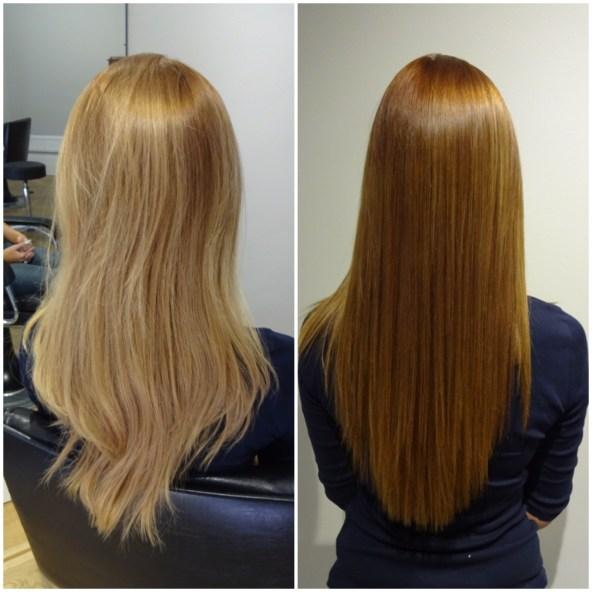 Fannys före och efterbild när hon nu valde en varm mörkblond hårfärg...